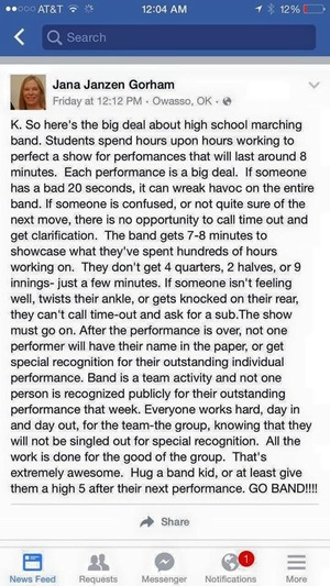 Facebook Post about Marching Band
